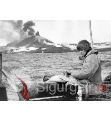 Fiskveiðar við gosstöðvarnar.