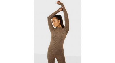 Casall Wool Rib long Sleeve Black Beige