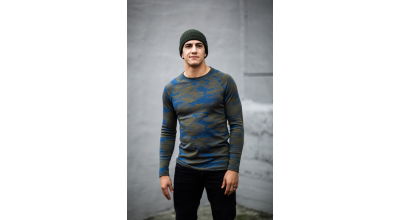 Bula Camo Merino Wool Mix Crew Denim