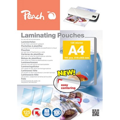 Peach laminating film A4 125mic PP580-02, films (glossy, 100 pieces)