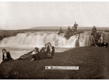 People by Elliðaa river in Reykjavík,  ca 1900