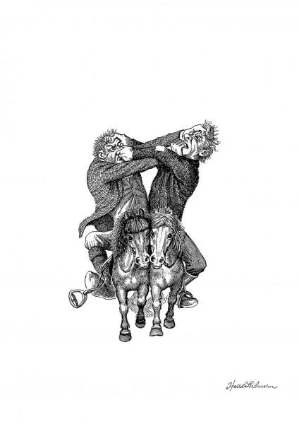 HP Collection 5 teikningar í möppu - Hestamenn eða víkingar