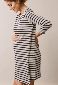 Boob Breton dress 3/4 sl tofu/midnight blue - röndóttur prjónakjóll