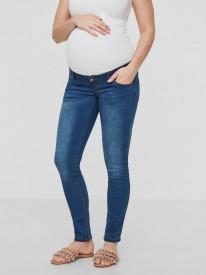 Mamalicious Fifty 002 Slim jeans Noos - bláar niðurmjóar meðgöngugallabuxur