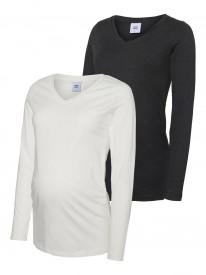 Mamalicious Annia l/s jersey top 2-pack black/white - 2 langermabolir í pakka