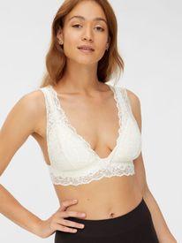 Mamalicious Senia lace bra nf white - hvítur toppur