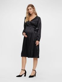 Mamalicious Shelby l/s woven UK dress - satínkjóll
