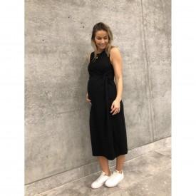 Mamalicious Meha s/l jersey midi dress black - svartur millisíður kjóll