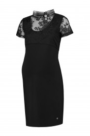 Love2Wait Dress nursing Ponte di Roma lace black - svartur kjóll með blúndu