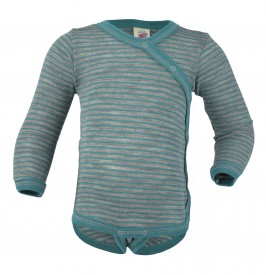 Engel baby-body long sleeved with press-studs on the side hellgrau melange/eisvogel  - sægræn langerma samfella með hliðarsmellum GOTS