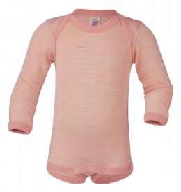Engel baby-body long sleeved lachs/natur - pastelbleik langerma samfella GOTS