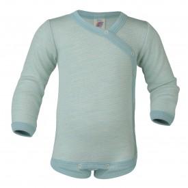 Engel baby-body long sleeved with press-studs on the side gletcher/natur - pastelgræn langerma samfella með hliðarsmellum GOTS