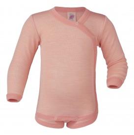 Engel baby-body long sleeved with press-studs on the side lachs/natur - pastelbleik langerma samfella með hliðarsmellum GOTS