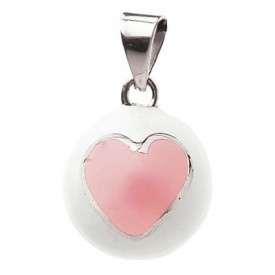Babylonia Bola white with pink heart - Bola hvít með bleiku hjarta