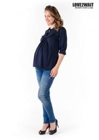 Love2Wait Shirt long sleeve Nursing Tencel Navy - dökkblár