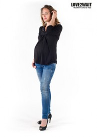 Love2Wait Shirt long sleeve Nursing Tencel black
