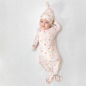 aden+anais perennial comfort knit gown+hat set - náttsett