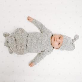 aden+anais snuggle knit gown+hat set grey melange 0-3 months - grátt náttsett