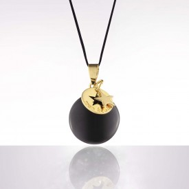 Cache coeur Bola - black enamel with gold star