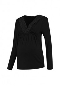 Love2Wait Shirt Lace Nursing Gots black - svartur bolur með blúndu