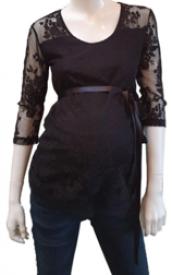 Love2Wait Shirt 3/4 sleeve lace black - svartur blúndubolur