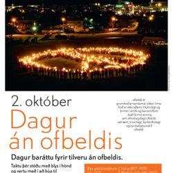 Dagur án ofbeldis - mannlegt friðarmerki á Klambratúni