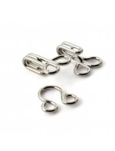 Thumb Hooks&Eyes Brass 2 Silver 12pc
