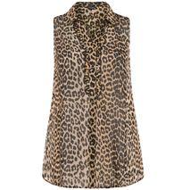 YOURS Brún Leopard Frill Blússa