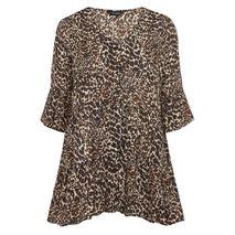 YOURS Brún Leopard Smock Blússa