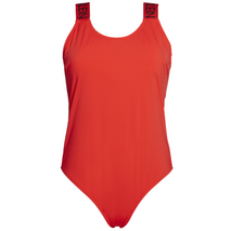 CK SCOOP NECK SWIMSUIT RED